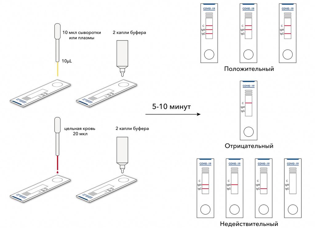Применение и результаты теста на коронавирус